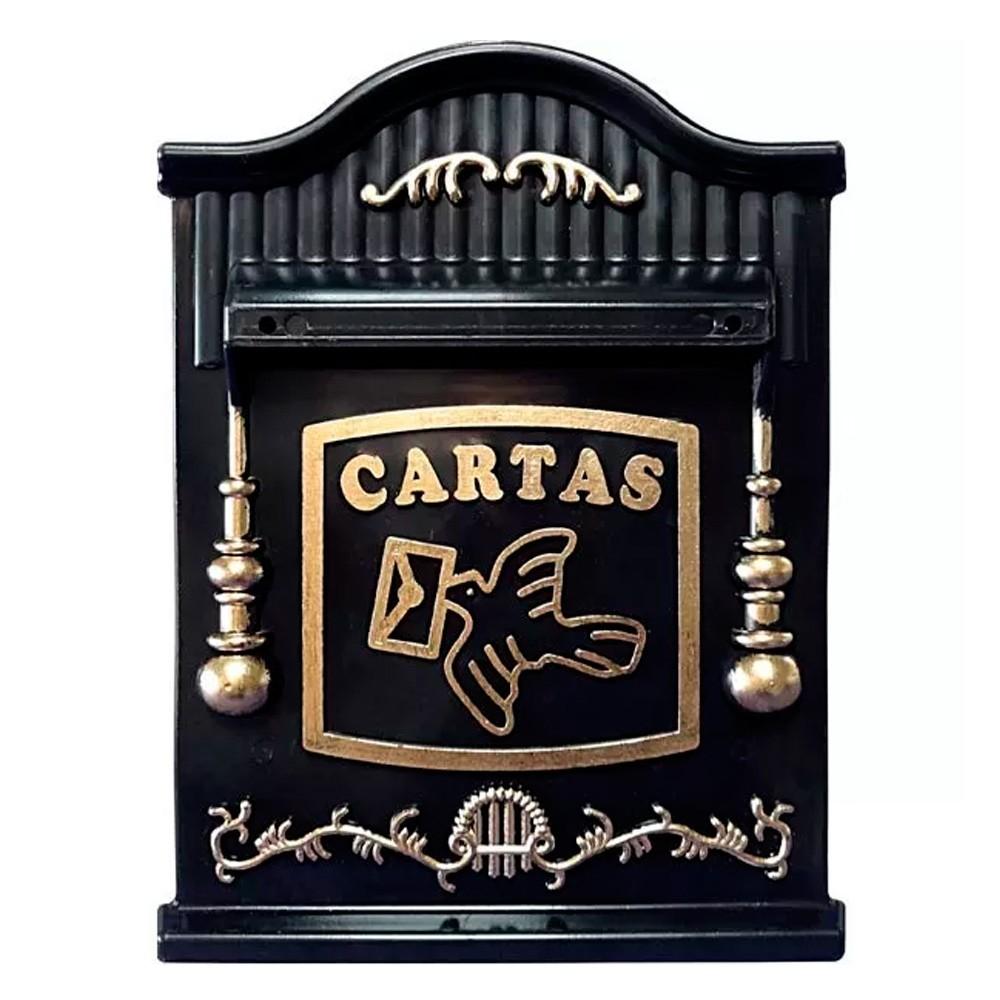 Caixa de Cartas, Revista, Jornal Correios para Embutir em Muros PVC Preto e Ouro – 26P