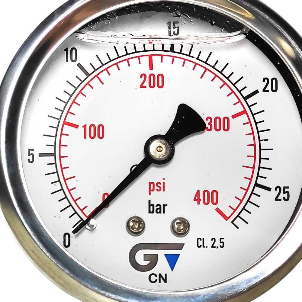 Manômetro Vertical  0 a 400 psi 63 mm Rosca 1/4'' Npt Com Glicerina