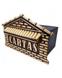 Caixa de Cartas, Revista, Jornal Correios para Embutir em Muros e Grades PVC Ouro e Preto – 04 P