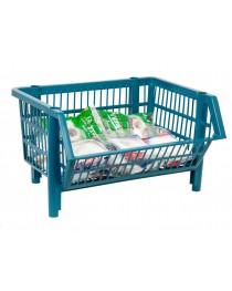 Cesto Plástico Empilhável Pequeno Azul - 44 x 26 x 34,5