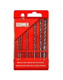 Jogo de Brocas Dormer para Metais em Aço Rápido com 7 Peças 2,0 a 6,5 mm DORMER-A2907BR